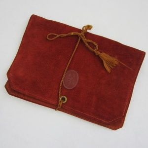 Vintage Leather Travel Jewelry Carrying Case Red